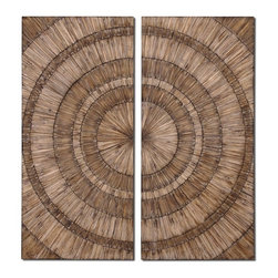 Silver Nest - Rodondo Wall Art- Set of 2 - Hand pieced natural wood chips with a burnished wash are used to create this stylish wall art.