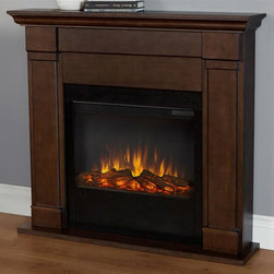 Real Flame - 46 in. Electric Fireplace in Black Maple Fini - Includes wooden mantel, firebox, screen, remote control and anti topple safety device. Realistic and built in look. Plugs into any standard outlet. 1400 watt heater. Rated over 4700 BTUs per hour. Programmable thermostat with display in fahrenheit or celsius. Ultra Bright LED technology with five brightness settings. Digital readout display with up to nine hours timed shut off. Dynamic ember effect. UL and ISTA 3A Certified. Warranty: Ninety days on mantel and One year on electric firebox. Made from solid wood, veneered MDF and powder coated steel. Assembly required. 46 in. W x 9.3 in. D x 41.4 in. H (90.3 lbs.)Unit must be anchored to a wall using the included hardware. The Lowry mantel is the next generation of electric fireplaces.