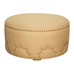 """Noir - Hailey Ottoman - The Hailey ottoman dresses a classic piece with a hint of whimsy. Circling its burlap upholstery, a row of nailheads and star-shaped studs delight with lighthearted geometric appeal. 32""""W x 32""""D x 17.5""""H"""