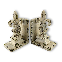 Zeckos - Shabby Chic Distressed White Fleur De Lis Bookends - Made of cold cast resin, this stunning pair of Fleur de Lis bookends doesn't just hold your books up, but adds a touch of ancestral royalty to your room. Measuring 9 inches tall, 5 1/2 inches long and inches deep, and 3 7/8 inches wide, they have a shabby chic, distressed white enamel finish, that gives them a well-loved, antiqued look. This pair also makes a great present for the holidays or for housewarming gifts. They look great on bookshelves and on top of desks or tables.