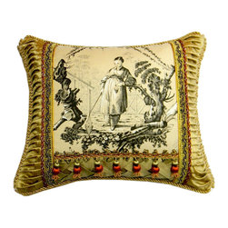"Metrohouse Designs - Asian Toile Pillow Bronze Tones - The pillow is made with ""Plaisirs D' Indochine"" Toile Textile by Brunschwig & Fils"