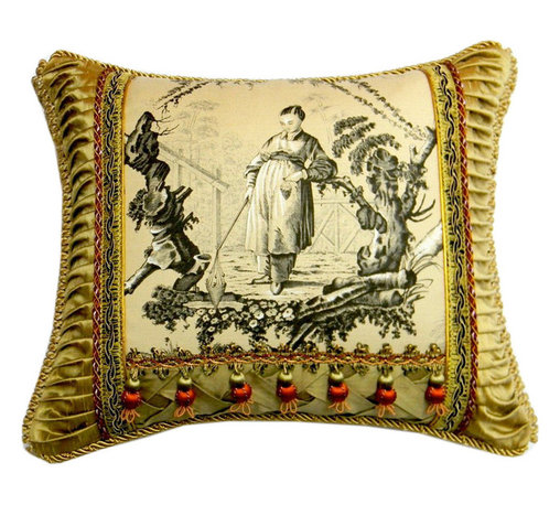 """Metrohouse Designs - Asian Toile Pillow Bronze Tones - The pillow is made with """"Plaisirs D' Indochine"""" Toile Textile by Brunschwig & Fils"""