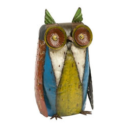 "Silver Nest - Quirky Owl Sculpture- 15.5""h - The handcrafted metal sculptural owl features colorful finishes and a whimsical light hearted stature."