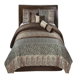 Bed Linens - Safari 11 Piece Bed in a Bag Queen - The colors of this set are a combination of Chocolate, Black and Linen