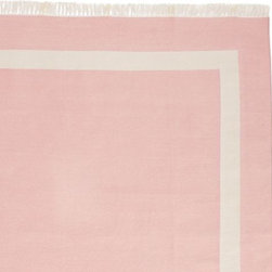 Serena & Lily - Blush Border Frame Rug - The clean, geometric design coordinates perfectly with all of our baby and children's furnishings. 100% cotton dhurrie hand woven in India with knotted fringe.
