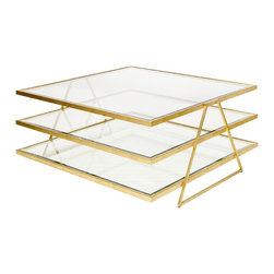 Worlds Away - Worlds Away 3-Tier Gold Leafed Coffee Table with Beveled Glass JONATHAN G - Worlds Away 3-Tier Gold Leafed Coffee Table with Beveled Glass JONATHAN G