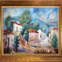 overstockArt.com - Revol Nunez - En la ruta del vino - En la ruta del vino is a beautiful painting of Argentina landscape. It will bring light and touch of South America to every home. The painting of Cecilia Revol Nunez is starring the same nature through open landscapes, that nature since his childhood living in the province of Salta, northern Argentina, and the flame to capture in his paintings, with their inhabitants and their customs. Those people are not so much dwarfed by nature, there is melancholy and feeling emanating serenity and tranquility. For it is a cause for excitement in their creativity, those humble and hidden landscapes that seem to have any kind of grandeur, however, that greatness is in its people, their customs, on the ground that goes from green more proud to autumnal yellow. His palette is limited but maximum develops, brown, beige, blue, giving it a certain magical quality. At times, this delicacy is interrupted by vibrant pure colors, which pasted to give relief to the stroke. All work is done in oil on canvas with a palette knife. Today his works are in art galleries, collectors, institutions and individuals from five continents.