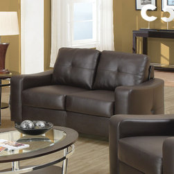 Coaster - Jasmine Collection Chocolate Casual Love Seat - Smart styling wrapped in a super-soft bonded leather match. The shapely Jasmine loveseat enhances any space with big, plush cushions, and slightly flared design that welcomes you with open arms.