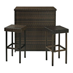 Crosley Furniture - Crosley Furniture Palm Harbor 3 Piece Outdoor Wicker Bar Set - Host outdoor happy hour with our elegantly designed, all-weather outdoor resin wicker bar set. Clean lines marry with an abundance of underneath storage for all your barware essentials.� Finely crafted with intricately woven wicker over durable steel frames to provide lasting resiliency to the weather. Be the hit of outdoor entertaining with this stylish bar.� Includes bar and two stools.