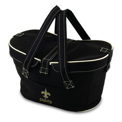 Picnic Time - New Orleans Saints Mercado Picnic Basket in Black - This Mercado Basket combines the fun and romance of a basket with the practicality of a lightweight canvas tote. It's made of polyester with water-resistant PEVA liner and has a fully removable lid for more versatility. Take it to the farmers market, the beach, or use it in the car for long trips. Carry food or sundries to and from home, or pack a lunch for you and your friends or family to share when you reach your destination. The Mercado is the perfect all-around soft-sided, insulated basket cooler to use when you want to transport a lunch or food items and look fashionable doing it.; Decoration: Digital Print; Includes: 1 removable canvas lid
