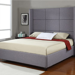 None - Jillian Upholstered King-size Bed - This grey polyester-upholstered king-size bed will add elegance and sophistication to any bedroom. The modern headboard features a cubed upholstered motif. The sturdy slats, solid rubber wood frame, and side rails make this bed durable.