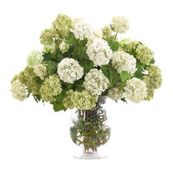 "Silver Nest - Green Snowball Centerpiece- 23""h - Green and White Snowball Flower Centerpiece in Glass Urn Vase"