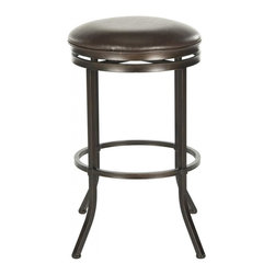 Safavieh - Althorn Barstool - The consummate pub stool gets a feminine new look in the low profile Althorn barstool. Crafted of iron with cross-back detail and brown finish, this comfy perch comes with a plush seat cushion of brown PU leather.