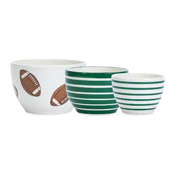 Boston Warehouse - Boston Warehouse Touchdown Prep Bowl Set Multicolor - 33374 - Shop for Mixing and Food Preparation Bowls from Hayneedle.com! About Boston WarehousePursuing his dream of starting his own business Peter Jenkins founded Boston Warehouse in 1974. Initially the company distributed distinctive European imports to retailers in the U.S. Peter who was originally from Manchester England selected Boston for his warehouse because of its accessibility to shipments from Europe. Upon deciding to product an in-house product Boston Warehouse's first original was a stoneware garlic cellar in 1980. It was a huge best-seller and was quickly followed by a line of innovative Mexican and Chinese cooking collections that put Boston Warehouse on the map. Boston Warehouse has continued to grow by inventing new categories by expanding into new retail markets and by acquisitions.