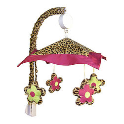 Trend Lab - Trend Lab Berry Leopard Crib Bedding Set - Mobile - Encourage eye tracking and sound perception skills with this Berry Leopard Musical Mobile by Trend Lab. Mobile canopy features a fashionable leopard print in tan and deep mahogany framed with a berry pink trim. Four flowers are suspended from decorative white ribbon and slowly rotate to Brahms Lullaby. Mobile easily attaches to most cribs. Mobile measures 18 in tall by 20 in wide. Coordinates with the Berry Leopard collection by Trend Lab.