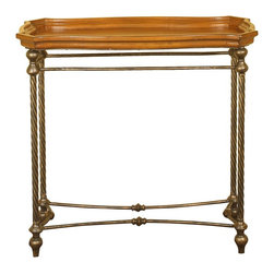 Passport - Malaga Console Table - Oil rubbed bronze twisted metal. Trayed walnut top. Bottom stretcher. Made from wood and metal. Oil rubbed bronze and walnut finish. Assembly required. 34 in. W x 33 in. D x 15 in. H (18 lbs.)Right size for any hallway or entranceway; trayed top to hold items securely, bottom stretcher for added stability.