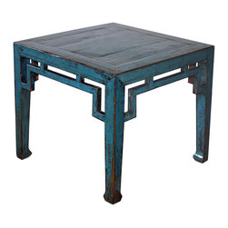 Shanxi Blue Ming Table - Blue lacquer Ming table with open fretwork apron and horse hoof feet. Perfect for coffee or side tables. Shanxi, China circa 1890s.