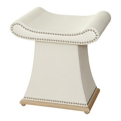 Global Views - Sultan Bench - Cowhide leather with hardwood trim base and polished nickel tack trim