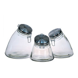 Global Amici - Amici Slope Storage Jars (Set of 3) - This three-piece storage jar set is perfect for storing cereal,dried pasta,or sugar. The top is securely fastened with a rubber gasket and creates an airtight environment. The sloping design of these jars boasts a fun and different decorative element.