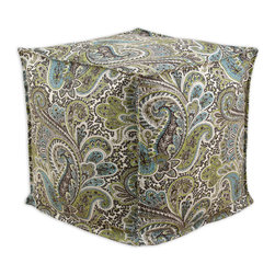 "Chooty - Chooty Paisley Chocolate Collection 17"" Square Seamed Beads Hassock - Insert EPS Styrofoam Beads, Fabric Content 100 Cotton, Color Aqua, Brown, Tan, White, Ottoman 1"