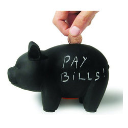 Bills Piggy Bank - Ceramic - These days, it's all about paying those bills, bills, bills. That's why saving loose coins and change is so important. This ceramic chalkboard piggy bank lets you write what you're saving for with the chalk provided so you never lose track of the end goal: that dream of travel, a cooking class, a new gadget, or a box of artisanal chocolate. Sure, a savings account is great to have, but this little piggy will motivate you to save bit by bit on a daily basis. Ka-ching!