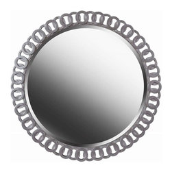 Kenroy Home - Kenroy Home Geo Wall Mirror, Bright Silver - 61015 - Whether your home is traditional or contemporary, Geo will be sure to make an impact. At 34 inches wide, Geo is framed with a bright silver intertwined pattern. This rounded mirror adds glamour and elegance to any space in your home.Bright Silver Finish