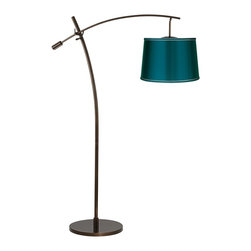 "Lamps Plus - Contemporary Tara Teal Satin Shade Balance Arm Arc Floor Lamp - The Tara arc floor lamp features an adjustable balance arm that allows you to position the lamp for reading or other tasks. The design comes in a warm tiger bronze finish and has an on/off floor switch for easy lighting control. At the end of the boom arm is an on-trend designer teal blue satin shade for a burst of style. Adjustable balance arm floor lamp. Tiger bronze finish. Teal blue satin shade. Maximum 100 watt or equivalent bulb (not included). On/off floor switch. 69"" max height. 63"" to top of center post. 41"" long arm. 32"" arm extension from center post. Shade is 14"" across the top 16"" across the bottom 11"" high. 16"" wide base.  Adjustable balance arm floor lamp.  Tiger bronze finish.  Teal blue satin shade.  Maximum 100 watt or equivalent bulb (not included).  On/off floor switch.  69"" max height.  63"" to top of center post.  41"" long arm.  32"" arm extension from center post.  Shade is 14"" across the top 16"" across the bottom 11"" high.  16"" wide base."