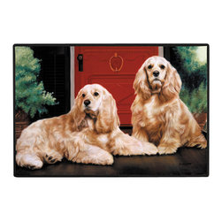 200-Cocker Spaniel-Porch Doormat - 100% Polyester face, permanently dye printed & fade resistant, nonskid rubber backing, durable polypropylene web trim on the porch or near your back entrance to the house with indoor and outdoor compatible rugs that stand up to heavy use and weather effects