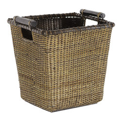 Oriental Furniture - Rattan Storage Bin with Pole Handles - This excellent, antique-stained Asian split vine rattan basket has kiln dried wooden handles for easy portability. Its tapered square design makes it practical for storage, a unique waste basket, or a rustic planter.
