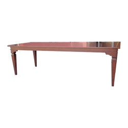 """Tuscan Style Dining Table #GSL-9311 - Shown 101"""" X 42"""" X 30""""h. Alder construction. Custom made to any dimensions, shape and specifications. can be made in other wood species & specialty veneers, steel, acrylic or wrapped in grasscloth or textured vinyls."""