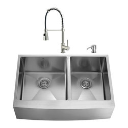 """VIGO Industries - VIGO All in One 36-inch Farmhouse Stainless Steel Double Bowl Kitchen Sink and F - Enhance the look of your kitchen with a VIGO All in One Kitchen Set featuring a 36"""" Farmhouse - Apron Front sink, faucet, soap dispenser, two matching bottom grids and two strainers."""