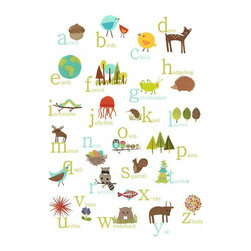 Rebecca Peragine Inc / Children Inspire Design - Nature Themed English Alphabet 18x24 Wall Art Poster - This is the piece of wall art for kids your nursery or playroom is missing!  The simple nature imagery design for kids makes learning fun and the sweet style and gender-neutral colors will match any room decor.  18x24 Wall Art Poster