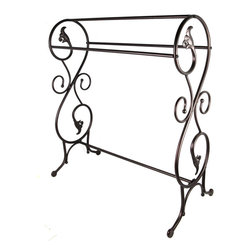 Khome - Khome Bronzed Finish Towel Rack Stand Antique Style - KHOME BRONZED FINISH TOWEL RACK STAND ANTIQUE STYLE