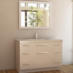 """Design Elements LLC - Moscony 48"""" Single Sink Vanity Set in White - The Moscony 48"""" Single Sink Vanity is constructed with solid wood and provides a contemporary design perfect for any bathroom remodel. The ample storage in this free-standing vanity set includes four fully functional drawers placed at each corner of the cabinet, two single door cabinets across the center as well as one larger single door cabinet each accented with brushed nickel hardware. This cabinet is available in both espresso and in white and comes complete with a white quartz counter top and a large framed mirror."""