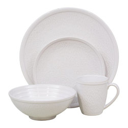 Sango - Sango Spectrum 16 Piece Dinnerware Set - White - 4651-16W - Shop for Sets from Hayneedle.com! Generous in size and rich in detail the Sango Spectrum 16 Piece Dinnerware Set - White is handcrafted by local artisans of premium stoneware. Each piece is glazed with semi-translucent white. This complete 16-piece dinner ware set is both microwave- and dishwasher-safe. Set Includes:4 dinner plates4 salad plates4 soup bowls4 mugsAbout SangoSango Ceramics is committed to the tableware industry. They are a leading ceramics tableware manufacturer based in Indonesia and produce an impressive variety of fine China bone China porcelain and stoneware plus home furnishings. All of their tableware products are double fired using tunnel kilns or fast firing kilns. Decorated products have a third firing. From classic to contemporary Sango ceramic pieces help you entertain in style.