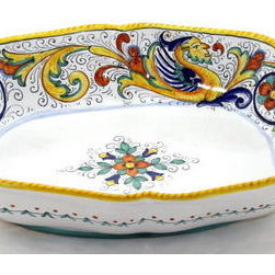 Artistica - Hand Made in Italy - RAFFAELLESCO: Oblong Bowl SIM (LG) - RAFFAELLESCO Collection: Among the most popular and enduring Italian majolica patterns, the classic Raffaellesco traces its origin to 16th century, and the graceful arabesques of Raphael's famous frescoes.