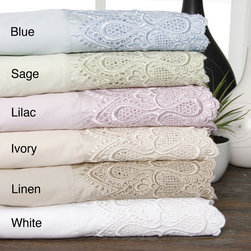 None - 600 Thread Count Lace Cotton Blend Sheet Set - Perfect for guest rooms, this elegant sheet set has a lace border for added style. The sheets come in a variety of pastel colors to match your bedding, and they have a sateen weave, which will help keep you cool and comfortable while you sleep.
