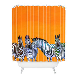 DENY Designs - Clara Nilles Candy Stripe Zebras Shower Curtain - Who says bathrooms can't be fun? To get the most bang for your buck, start with an artistic, inventive shower curtain. We've got endless options that will really make your bathroom pop. Heck, your guests may start spending a little extra time in there because of it!