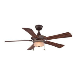 Hampton Bay - Indoor Ceiling Fans: Hampton Bay Winthrop 52 in. Rustic Bronze Ceiling Fan YG213 - Shop for Lighting & Fans at The Home Depot. The Winthrop 52 in. Ceiling fan has a transitional design but can also work with contemporary room settings. With the integrated light kit and mid-body design this fan is perfect when ceiling height is a problem. A reversible control switch enables this fan to provide comfort in the summer and winter.