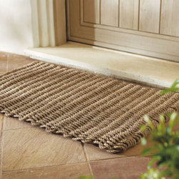 """Grandin Road - Outdoor Bluer Entry Mat - Constructed of a durable polypropylene weave. Boasts unbeatable scrubbing power. Cleaning is simple: just spray it off with a hose. Won't shred, mildew, or absorb water. """"Put your best foot forward. Greet your guests with a doormat as stylish and well-chosen as the rest of your decor."""" — Grandin Road Editors There is a spot somewhere around your home that desperately needs the help of our Outdoor Mariner Entry Mat.. . . . Imported. Not recommended for use on some tile or painted floors."""