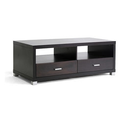 Baxton Studio - Derwent Coffee Table with Drawers - Organize your living room or den and bring order to chaotic clutter with this modern two-drawer coffee table. This dark brown coffee table has two generously sized drawers that can be used to store everything from DVDs and games to magazines and books.