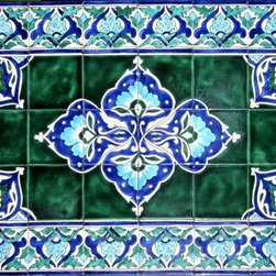 """Hand Painted Mosaic Murals - Beautiful 40 tile mosaic mural.Total size of mosaic, 48"""" wide x 30"""" height.  Hand painted in Tunisia, a southern Mediterranean country. Tiles are fired twice between 500-600 degrees in a ceramic oven.Very colorful and high gloss finish. Scratch resistant, fade and water resistant. indoor and outdoor use. Easy st up and heavy duty. Ref; CCT1367"""