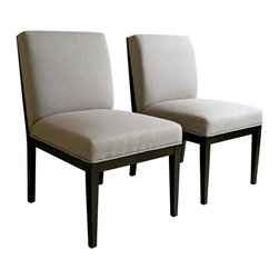 Wholesale Interiors - Baxton Studio Upholstered Dining Chair in Wen - Constructed of durable wooden frame. Fabric upholstery on seat and back. Extra foam padded for comfort on seat and back. Made from Veneer. Minimal assembly required. Seat: 18.5 in. H. Overall: 20.75 in. W x 24.5 in. L x 33.5 in. H (35 lbs.)Add a dose of contemporary sophistication and comfort to your dining area with this pair of elegant Wholesale Interiors dining chairs.  This pair of dining chairs has a classic design with a modern feel that will complement any seating area. Chair constructed with hardwood frame with extra thick high density foam padding and a rubber webbing interior support system for added comfort. Leg constructed with solid rubber wood with luxurious wenge veneers finish completes with elegant smooth, clean lines design. The perfect combination of quality craftsmanship with simple and sophisticated designs, giving you furniture that will instantly enhance your dining room decor. Feel free to match these with your dining room table or kitchen dinettes. The extra padding offer maximum comfort and elegant style that surely brings casual modernity to any room.