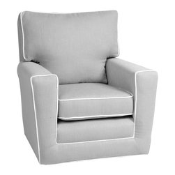 Rock Star Baby Girl's Nursery - Modern gray nursery rocker glider chair.