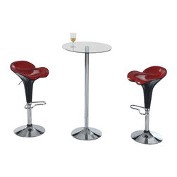 "Global Furniture - Global Furniture USA M828BT 3 Piece Round Glass Bar Table Set w/ Black & Red Sto - Simplicity is key with this 43"" high bar table.  Complete with glass circular top and chrome metal base it is sure to fit in to any décor."