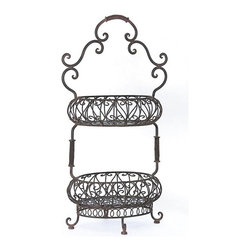 IMAX CORPORATION - Two-Tiered Oval Baskets - Appealing brown scrolled iron two-tiered handled oval baskets. Find home furnishings, decor, and accessories from Posh Urban Furnishings. Beautiful, stylish furniture and decor that will brighten your home instantly. Shop modern, traditional, vintage, and world designs.