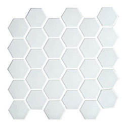 Porcelain Hexagon Mosaic, White - A hexagon floor tile is a nice alternative to penny round tiles. I prefer simple white porcelain, but I've seen several beautiful mosaic styles.