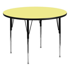 "Flash Furniture - 42"" Round Activity Table with Yellow Top and Adjustable Legs - Flash Furniture's XU-A42-RND-YEL-T-A-GG warp resistant thermal fused laminate round activity table features a 1.125 in.  top and a thermal fused laminate work surface. This Round Laminate activity table provides a durable work surface that is versatile enough for everything from computers to projects or group lessons. Sturdy steel legs adjust from 21.125 in.  - 30.125 in.  high and have a brilliant chrome finish. The 1.125 in.  thick particle board top also incorporates a protective underside backing sheet to prevent moisture absorption and warping. T-mold edge banding provides a durable and attractive edging enhancement that is certain to withstand the rigors of any classroom environment. Glides prevent wobbling and will keep your work surface level. This model is featured in a beautiful Yellow finish that will enhance the beauty of any school setting."
