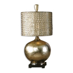 Carolyn Kinder - Carolyn Kinder Julian Transitional Table Lamp X-1-44972 - This glass lamp is finished from the inside with an antiqued silver/champagne leaf and cast aluminum accents. The round drum shade is constructed from small spirals, hand forged out of wire with an antiqued silver finish and a silken champagne inner liner.