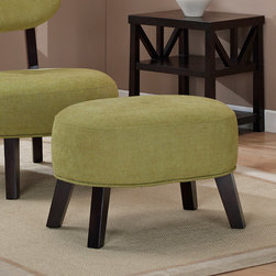 None - Jupiter Artichoke Ottoman - Brighten up your living room with this stylish green ottoman. Hardwood legs and a center button tuft accentuate this 17 inch tall foot rest. The fun color and comfortable style are sure to make a positive impression on both your eyes and your feet!
